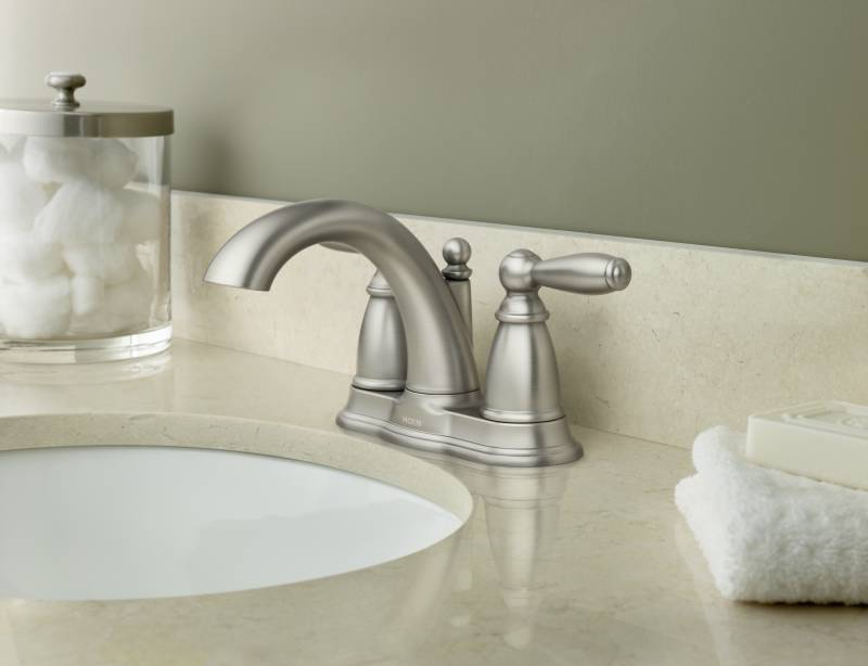 7 Faucet Finishes For Fabulous Bathrooms: Moen 6610BN Brantford Two Handle Centerset Lavatory Faucet