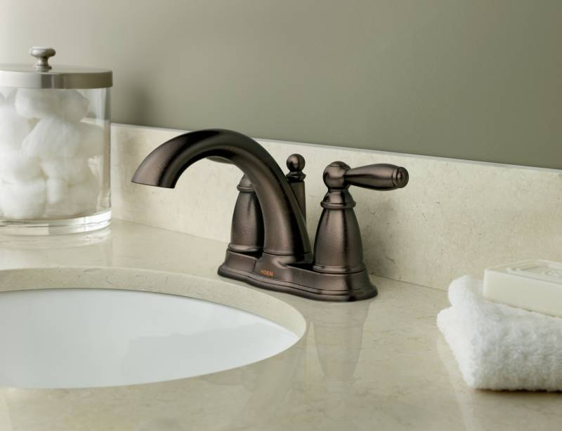 7 Faucet Finishes For Fabulous Bathrooms: Moen 6610ORB Brantford Two Handle Centerset Lavatory