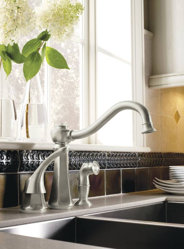 Moen 7065CSL Vestige Single-Handle Kitchen Faucet with Side Spray ...