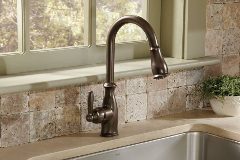 Moen ORB Brantford OneHandle High Arc Pulldown Kitchen Faucet - Oil rubbed bronze pull down kitchen faucet