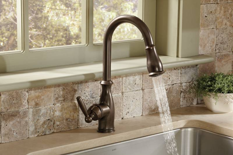 Moen Kitchen Faucets Bronze moen 7185orb brantford one-handle high arc pulldown kitchen faucet