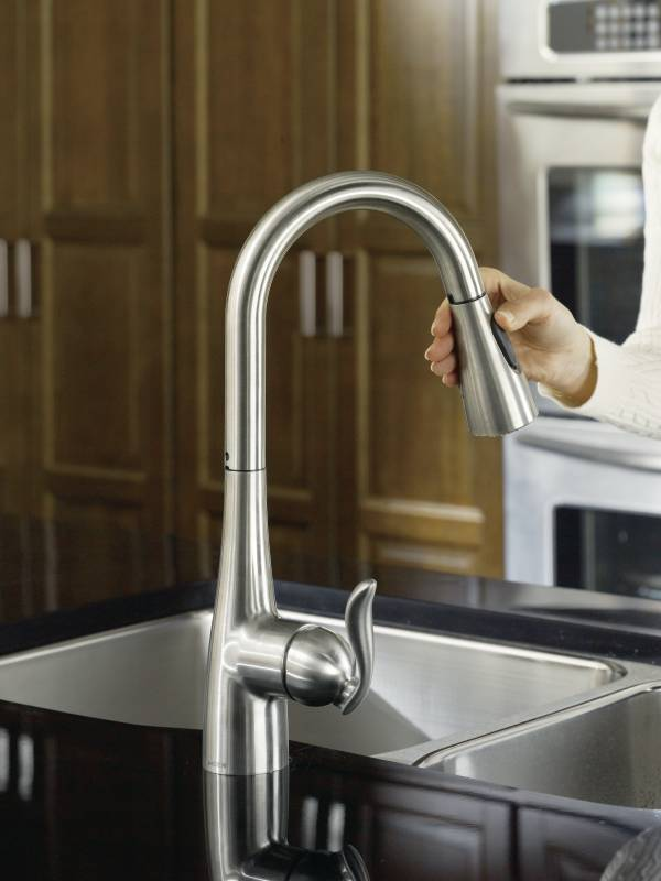 marvelous Moen Kleo Kitchen Faucet #7: Moen CA87011SRS Kleo Single Handle Pulldown Kitchen Faucet - Spot Resist  Stainless Moen CA87011SRS Kleo ...