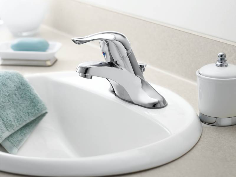 7 Faucet Finishes For Fabulous Bathrooms: Moen L4621 Chateau Single Handle Centerset Lavatory Faucet