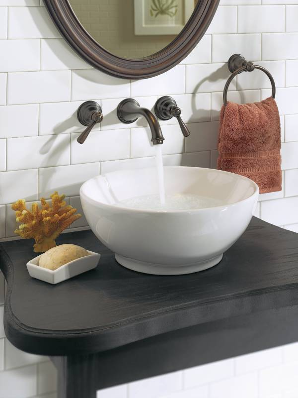 Moen T6107orb Kingsley Two Handle Wall Mounted Lavatory Faucet Trim Oil Rubbed Bronze