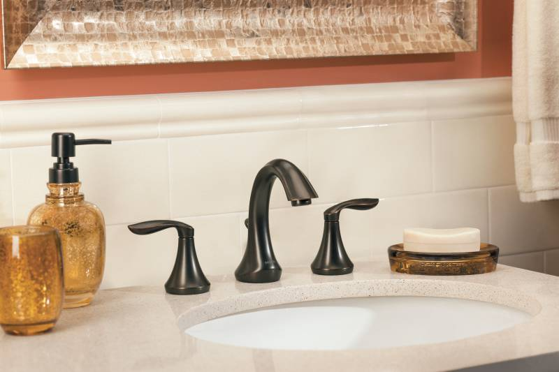 Delta Windemere Oil Rubbed Bronze 2 Handle Widespread: Moen T6420ORB Eva Two-Handle Widespread Lavatory Faucet