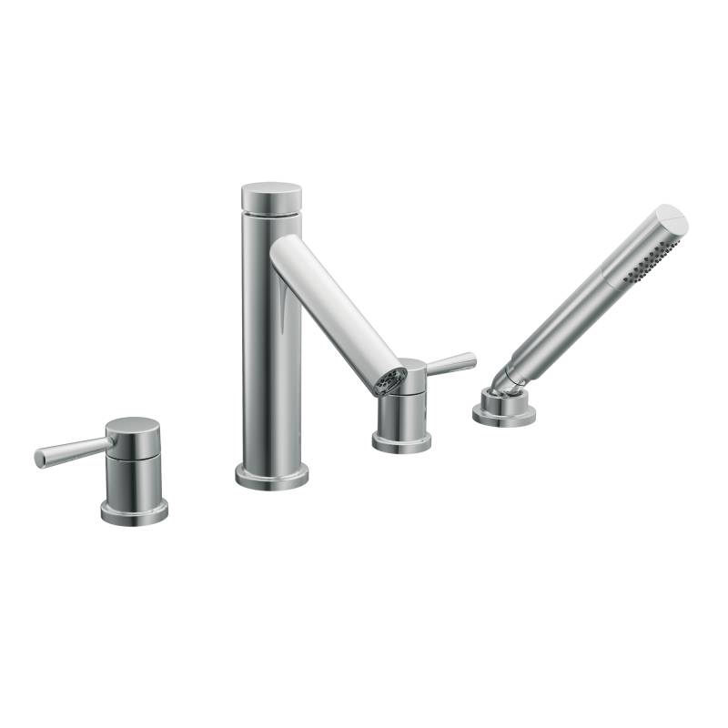 Moen T914 Level Two Handle Roman Tub Faucet Trim with Handshower ...