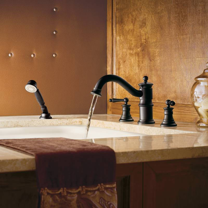 Moen showhouse ts213wr waterhill two handle roman tub for Showhouse faucets