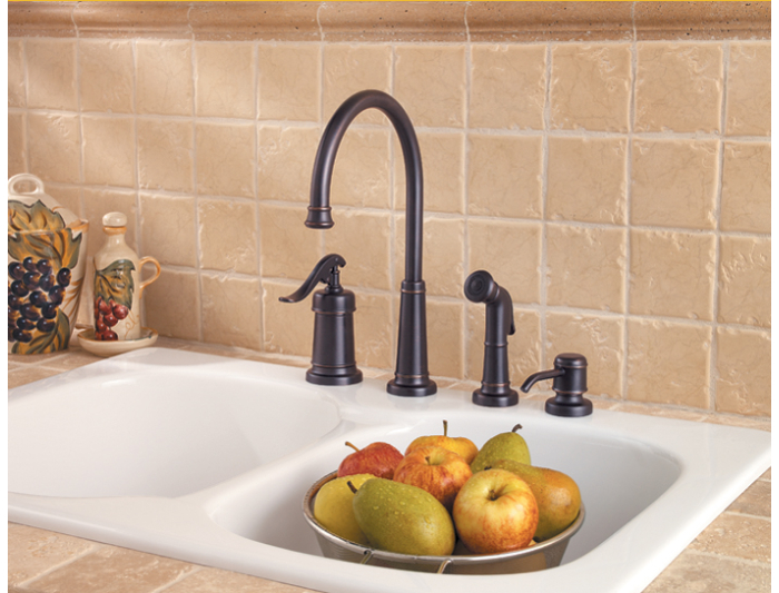 Pfister GT26-4YPY Ashfield 4-Hole Kitchen Faucet with Sidespray and ...