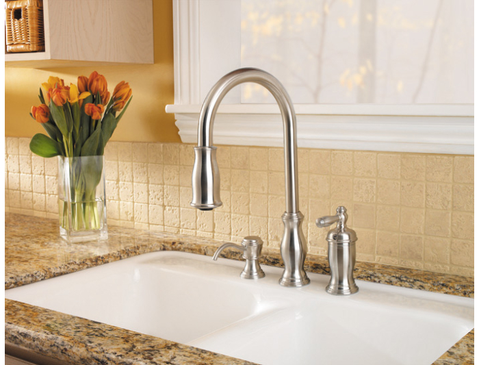 Pfister GT526-TMS Hanover Single Handle Pull Down Kitchen Faucet ...