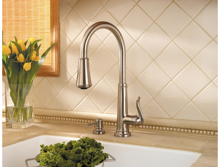 Pfister GT529 YPK Ashfield Single Handle Pull Down Kitchen Faucet   Brushed  Nickel