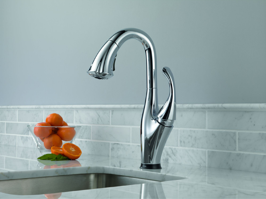 Delta 9992T-DST Addison Single Handle Pull-Down Bar/Prep Faucet Featuring Touch2O
