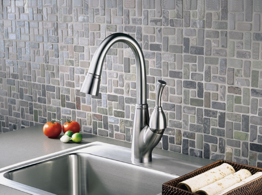 Delta 999-DST Allora Single Handle Pull-Down Bar/Prep Faucet with DIAMOND Seal Technology