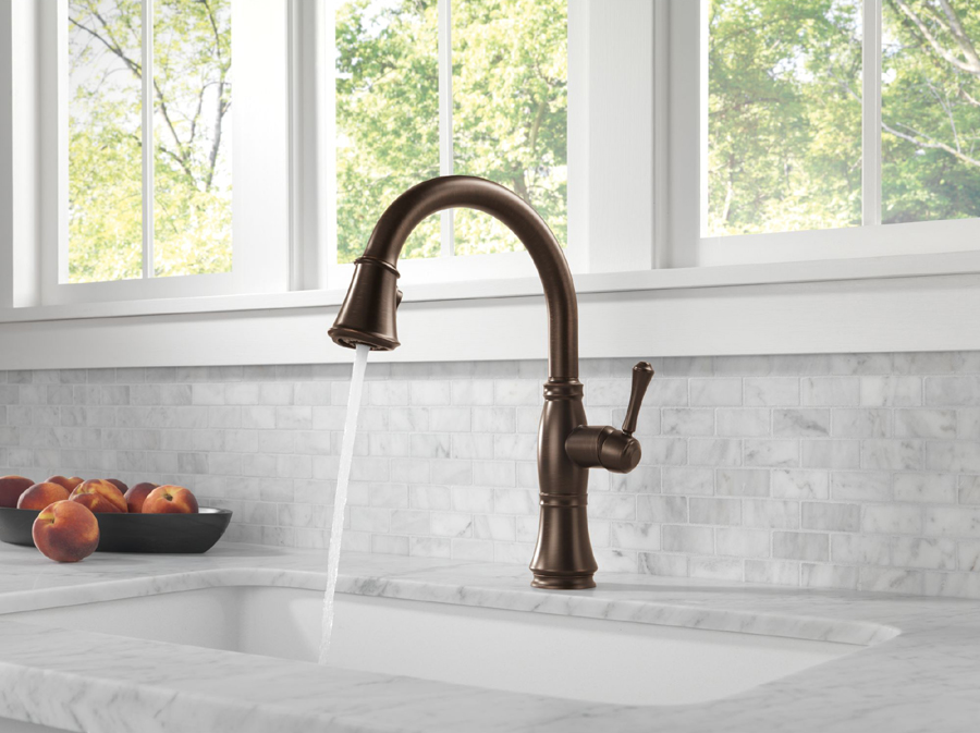 Delta Kitchen Faucet Bronze delta 9197-rb-dst cassidy single handle pull down kitchen faucet