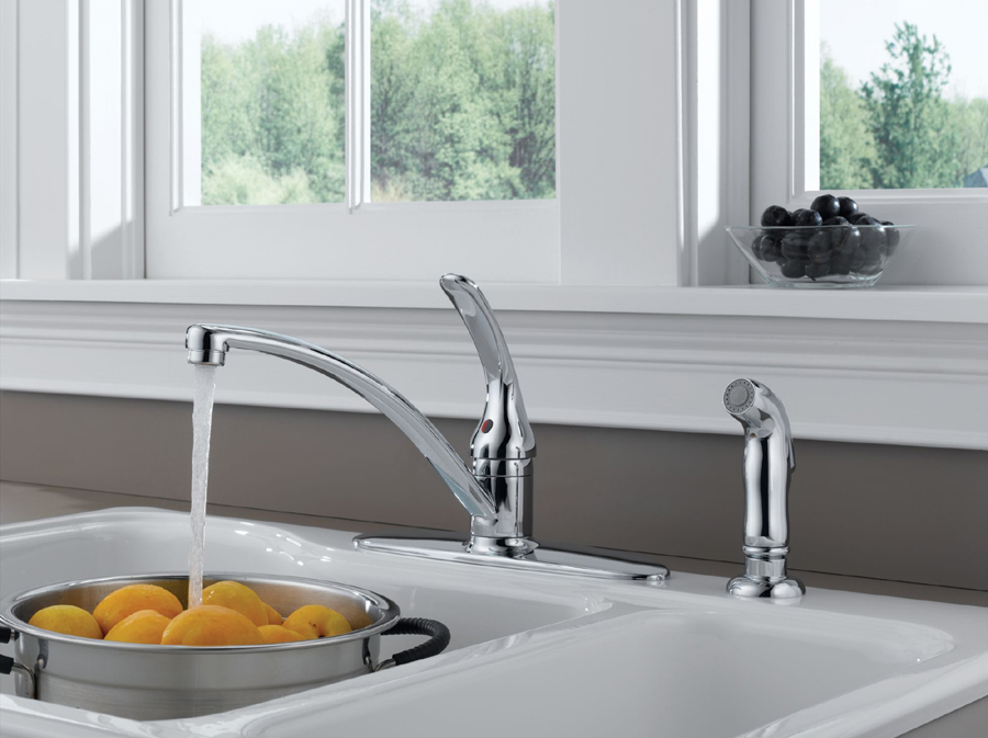 Delta B4410LF Foundations Core-B Single Handle Kitchen Faucet with Side Spray