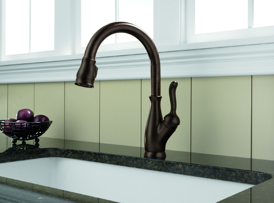 down stainless faucet delta touch mount handle spotshied faucets trask kitchen deck pull ca