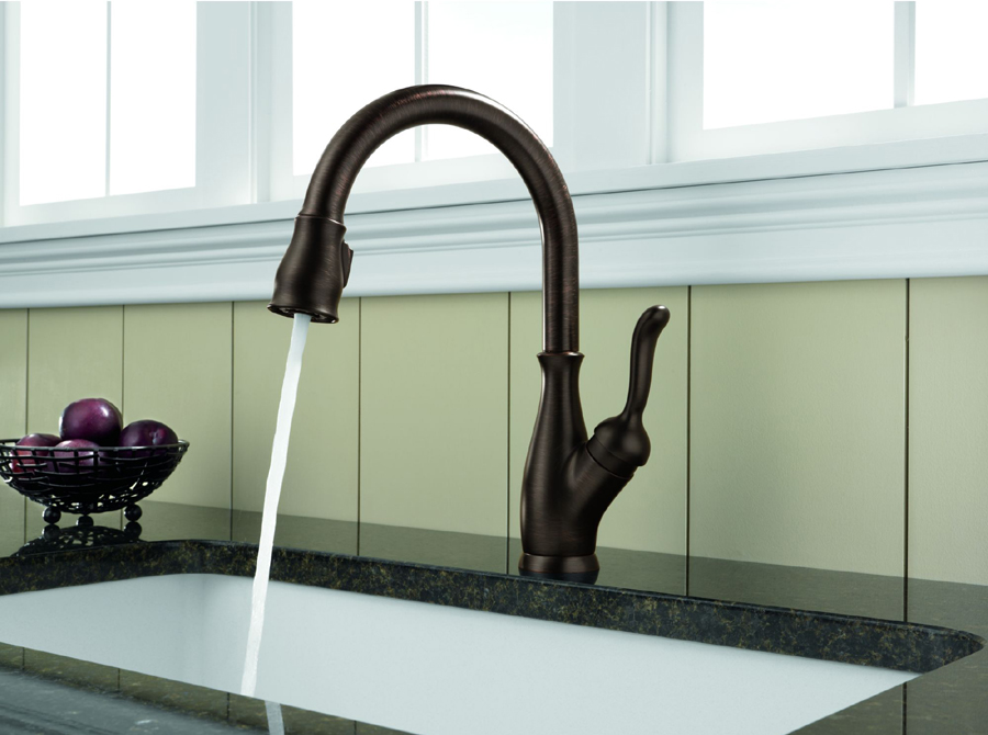 Delta 9178-RB-DST Leland Single Handle Pull-Down Kitchen Faucet ...
