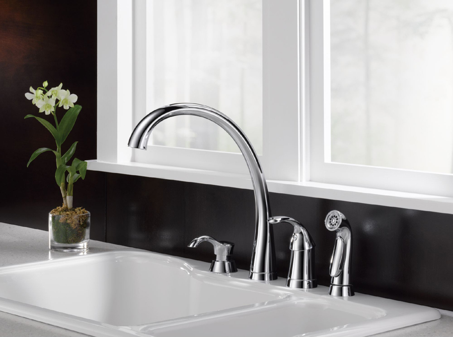 Delta Pilar Waterfall Chrome High Arc Kitchen Faucet With Side Spray