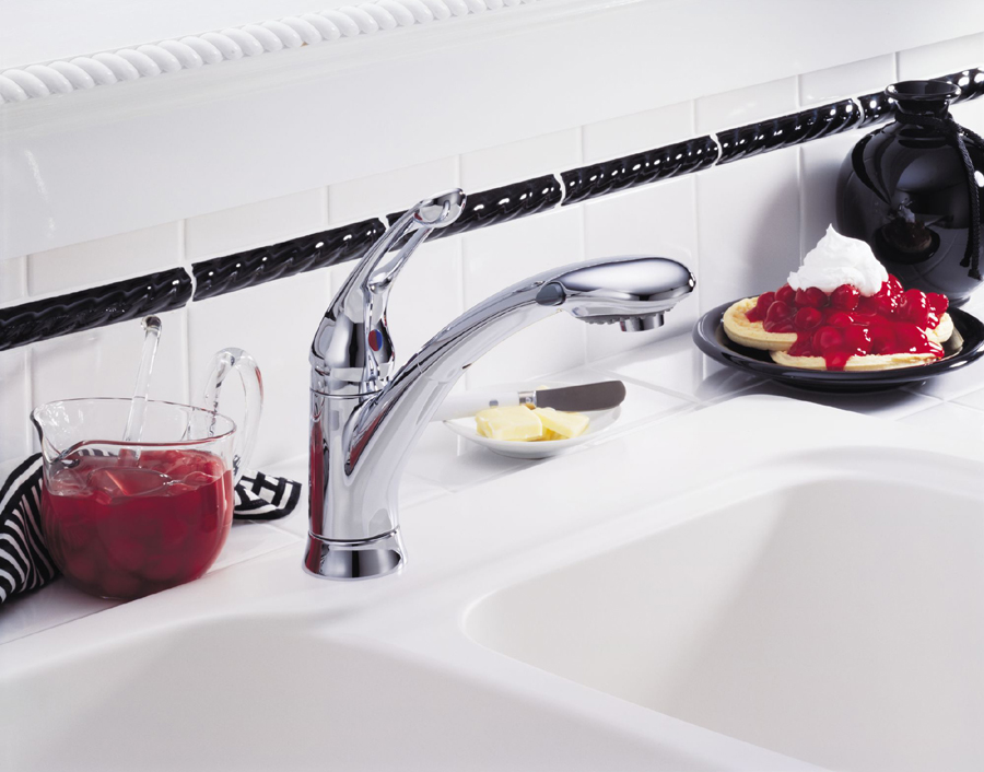 Delta Faucet B3596lf Windemere Polished Chrome Two Handle: Delta 472-DST Signature Single Handle Pull-Down Kitchen