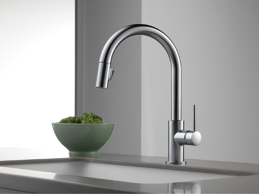 Delta 9159 Ar Dst Trinsic Single Handle Pull Down Kitchen Faucet Stainless Faucetdepot Com