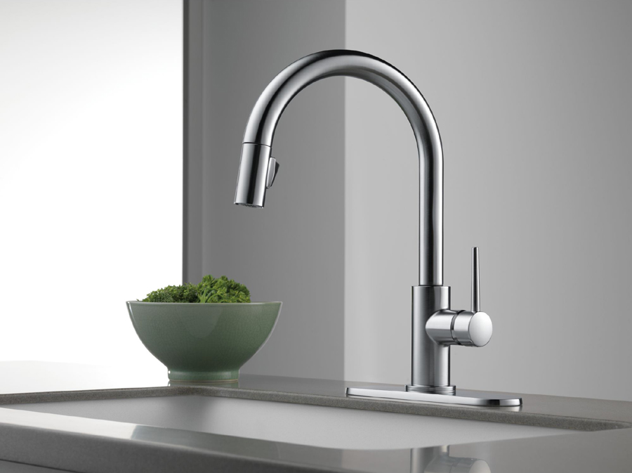 Delta 9159-AR-DST Trinsic Single Handle Pull-Down Kitchen Faucet ...