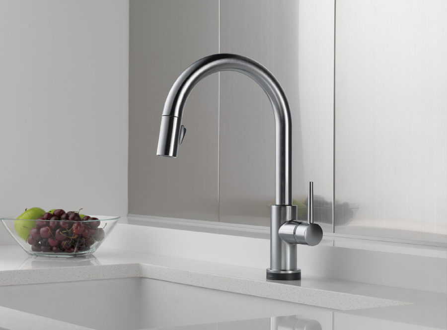 one touch kitchen faucet delta 9159t ar dst trinsic single handle pull kitchen 21077