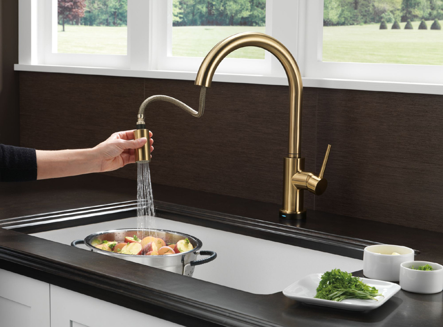 Delta 9159t Cz Dst Trinsic Single Handle Pull Down Kitchen