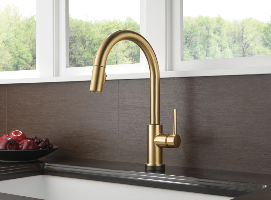 Delta 9159T-CZ-DST Trinsic Single Handle Pull Down Kitchen Faucet Featuring Touch2O Technology