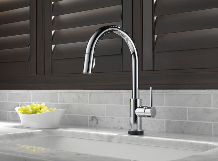 Delta Pull Down Kitchen Faucet delta 9159t-dst trinsic single handle pull down kitchen faucet