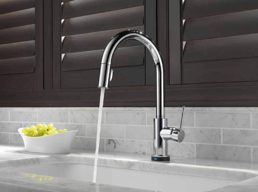 Delta 9159T-DST Trinsic Single Handle Pull Down Kitchen Faucet ...