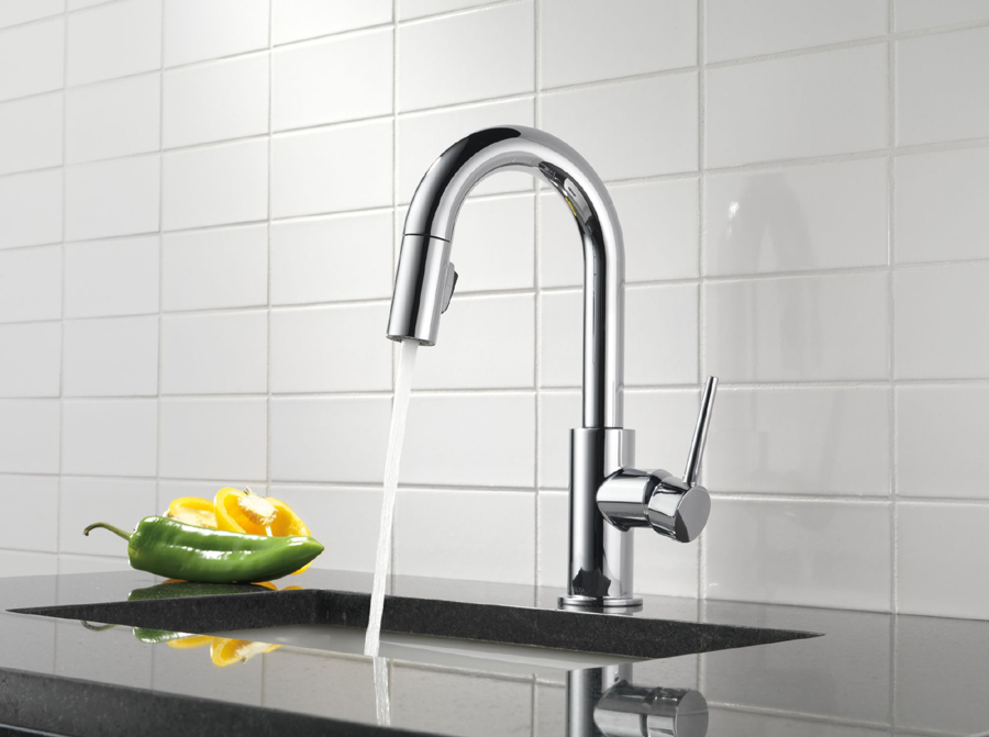 delta 9959-dst trinsic single handle pull-down bar/prep faucet