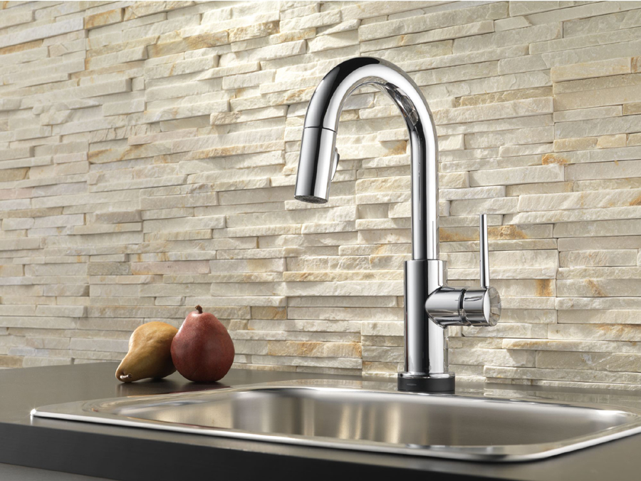 Delta 9959T-DST Trinsic Single Handle Pull-Down Bar/Prep Faucet Featuring Touch2O Technology