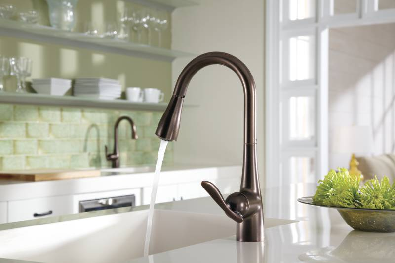 Design House Cameron 3 Light Oil Rubbed Bronze Bath Light: Moen 7594ORB Arbor Single-Handle High Arc Pulldown Kitchen