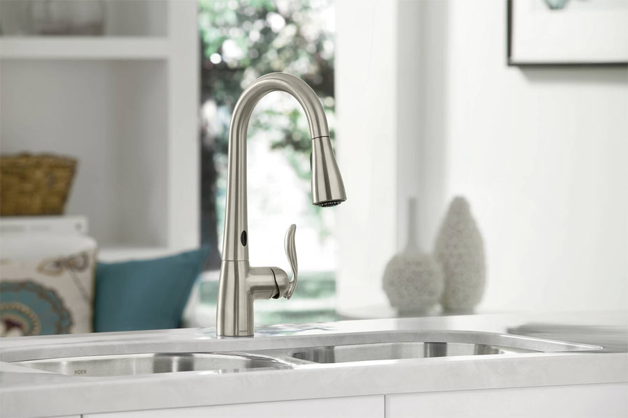 ... Pull Down Kitchen Faucet With MotionSense   Spot Moen 7594ESRS Arbor  7594ESRS Arbor 7594ESRS