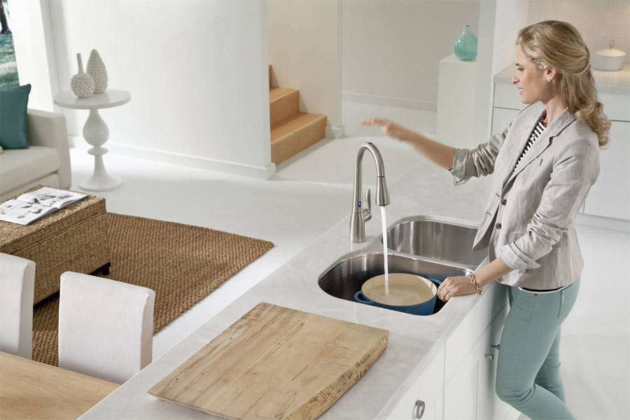 Moen 7594esrs Arbor Single Handle Hole Pull Down Kitchen Faucet With Motionsense Spot Resist Stainless Faucetdepot Com
