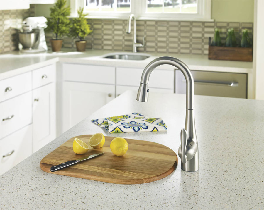 stainless faucet faucets bargains on down resist shop moen kitchen pull handle arbor spot lizzy