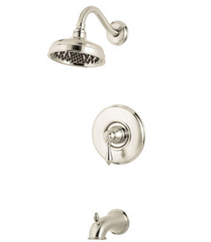Price Pfister 808M0BK Marielle Single Handle Tub and Shower Trim with Rain Showerhead - Brushed Nickel