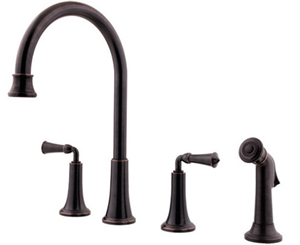 Price Pfister F-031-4BPY Bellport Double Handle Kitchen Faucet - Tuscan Bronze