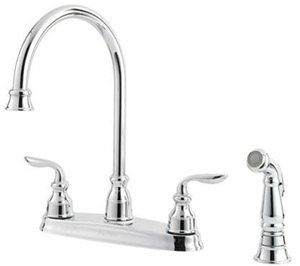 Price Pfister F-0364-CBC Avalon 4 Hole Double Handle Kitchen Faucet - Polished Chrome