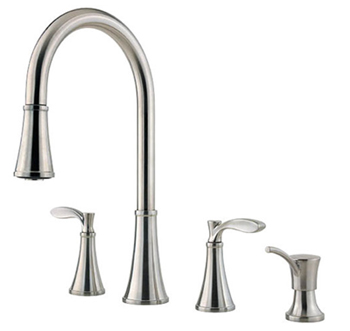 Price Pfister F-531-4PAS Petaluma Double Handle Pull Down Kitchen Faucet - Stainless Steel