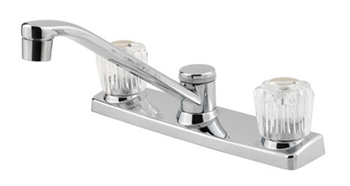 Price Pfister G135-1100 Double Acrylic Handle Kitchen Faucet - Polished Chrome