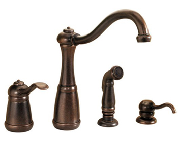 Price Pfister GT26-4NUU Marielle Single Control Kitchen Faucet with Side Spray and Soap Dispenser - Rustic Bronze