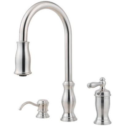 Pfister GT526-TMS Hanover Single Handle Pull Down Kitchen Faucet with Soap Dispenser - Stainless Steel