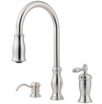 Price Pfister GT526-TMS Hanover Single Handle Pull Down Kitchen Faucet with Soap Dispenser - Stainless Steel