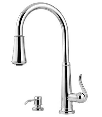 Pfister GT529-YPC Ashfield Single Handle Pull-Down Kitchen Faucet with Soap Dispenser - Chrome