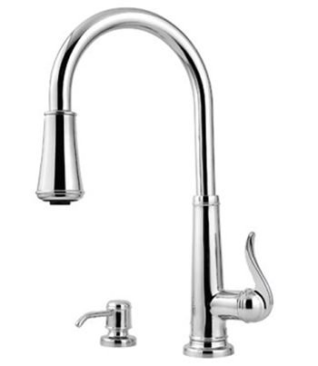 Price Pfister GT529-YPC Ashfield Single Handle Pull-Down Kitchen Faucet with Soap Dispenser - Chrome