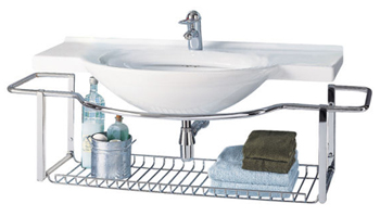 Porcher 20308.00.001 Riviera Wall-Mount Lavatory Basin with Towel Rack White