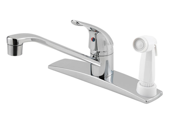 Price Pfister 134-3444 Pfirst Single Handle Kitchen Faucet with White Sidespray Chrome