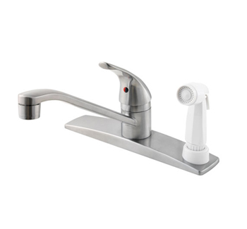 Price Pfister G134-344S Pfirst Single Handle Kitchen Faucet with White Sidespray Stainless Steel
