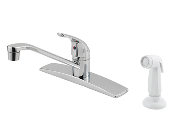 Price Pfister 134-4444 Pfirst Single Handle Kitchen Faucet with White Sidespray Chrome