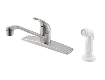 Price Pfister G134-444S Pfirst Single Handle Kitchen Faucet with White Sidespray Stainless Steel